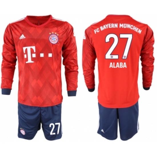 brand new 13b1c e1687 2018-19 Bayern Munich 27 ALABA Home Long Sleeve Soccer ...