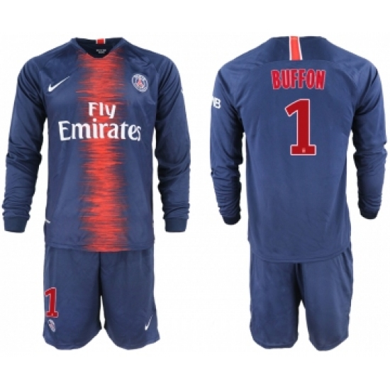 designer fashion 9b27f 3d8ec 2018-19 Paris Saint-Germain 1 BUFFON Home Long Sleeve Soccer ...