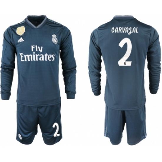 ddd2035e0 2018-19 Real Madrid 2 CARVAJAL Away Long Sleeve Soccer Jersey ...