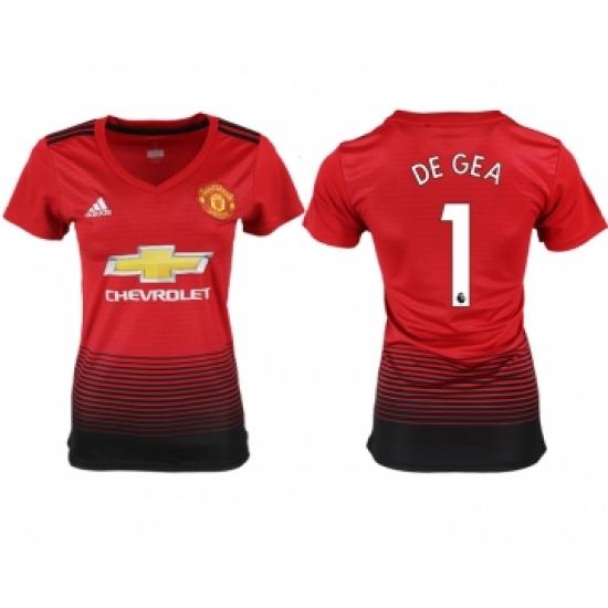 sale retailer 31883 ca58c 2018-19 Manchester United 1 DE GEA Home Women Soccer Jersey ...