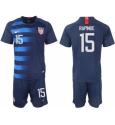 2018-19 USA 15 RAPINOE Away Soccer Jersey