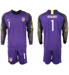 2018-19 USA 1 HOWARD Purple Goalkeeper Long Sleeve Soccer Jersey