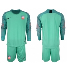 2018-19 USA Green Goalkeeper Long Sleeve Soccer Jersey
