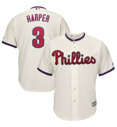 Men's Philadelphia Phillies #3 Bryce Harper Majestic Cream Alternate Official Cool Base Player Jersey