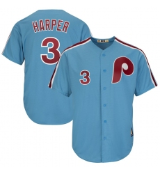 Men's Philadelphia Phillies #3 Bryce Harper Majestic Light Blue Cool Base Cooperstown Player Jersey