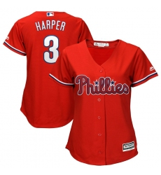 Women's Philadelphia Phillies #3 Bryce Harper Majestic Scarlet Cool Base RED Replica Player Jersey