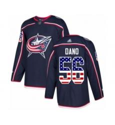 Men's Columbus Blue Jackets #56 Marko Dano Authentic Navy Blue USA Flag Fashion Hockey Jersey