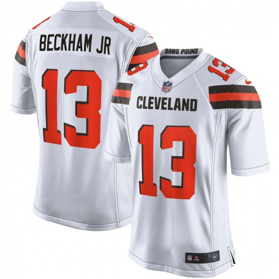 buy popular 0994e 69b09 Men's Cleveland Browns #13 Odell Beckham Jr Nike White Game ...