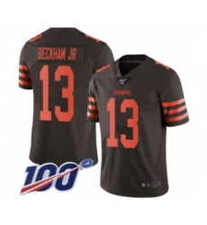Youth Cleveland Browns #13 Odell Beckham Jr. Limited 100th Season Brown Rush Vapor Untouchable Football Jersey