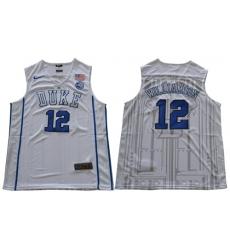 Duke Blue Devils #12 Zion Williamson White Basketball Elite Stitched NCAA Jersey