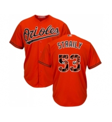 Men's Baltimore Orioles #53 Dan Straily Authentic Orange Team Logo Fashion Cool Base Baseball Jersey