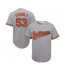 Men's Baltimore Orioles #53 Dan Straily Replica Grey Road Cool Base Baseball Jersey