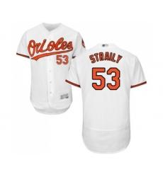 Men's Baltimore Orioles #53 Dan Straily White Home Flex Base Authentic Collection Baseball Jersey