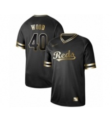 Men's Cincinnati Reds #40 Alex Wood Authentic Black Gold Fashion Baseball Jersey