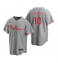 Men's Nike Philadelphia Phillies #10 J.T. Realmuto Gray Road Stitched Baseball Jersey