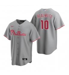 Men's Nike Philadelphia Phillies #10 J.T. Realmuto Gray Road Stitched Baseball Jersey