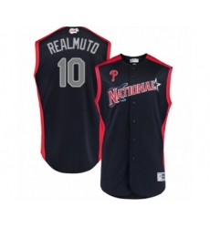 Men's Philadelphia Phillies #10 J. T. Realmuto Authentic Navy Blue National League 2019 Baseball All-Star Jersey