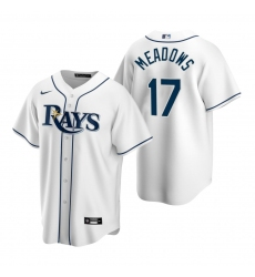 Men's Nike Tampa Bay Rays #17 Austin Meadows White Home Stitched Baseball Jersey