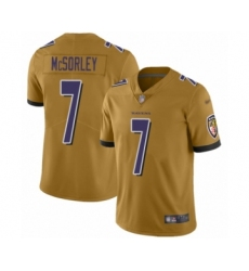Youth Baltimore Ravens #7 Trace McSorley Limited Gold Inverted Legend Football Jersey