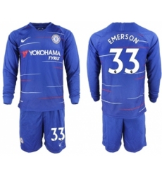 Chelsea #33 Emerson Home Long Sleeves Soccer Club Jersey