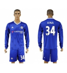 Chelsea #34 Aina Home Long Sleeves Soccer Club Jersey