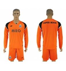 Oporto Blank Orange Goalkeeper Long Sleeves Soccer Club Jersey