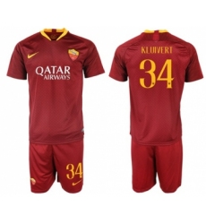 Roma #34 Kluivert Red Home Soccer Club Jersey