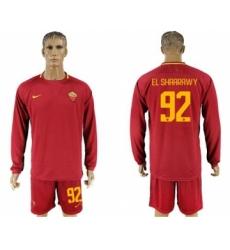 Roma #92 EL Shaarawy Home Long Sleeves Soccer Club Jersey