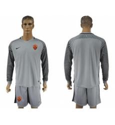 Roma Blank Grey Goalkeeper Long Sleeves Soccer Club Jersey