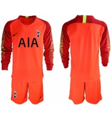 Tottenham Hotspur Blank Red Goalkeeper Long Sleeves Soccer Club Jersey