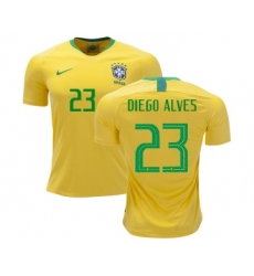 Brazil #23 Diego Alves Home Soccer Country Jersey