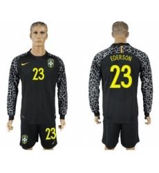 Brazil #23 Ederson Black Goalkeeper Long Sleeves Soccer Country Jersey