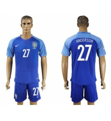 Brazil #27 Anderson Blue Soccer Country Jersey