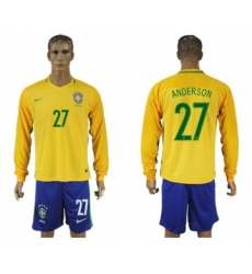Brazil #27 Anderson Home Long Sleeves Soccer Country Jersey