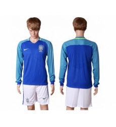 Brazil Blank Away Long Sleeves Soccer Country Jersey