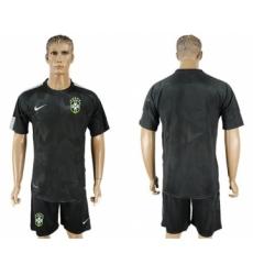 Brazil Blank Black Soccer Country Jersey