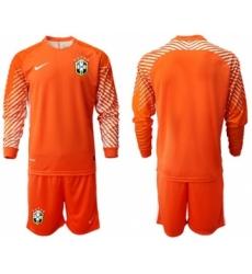 Brazil Blank Orange Goalkeeper Long Sleeves Soccer Country Jersey
