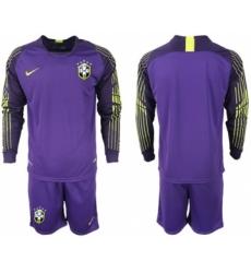 Brazil Blank Purple Goalkeeper Long Sleeves Soccer Country Jersey