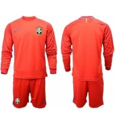 Brazil Blank Red Goalkeeper Long Sleeves Soccer Country Jersey