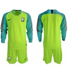 Brazil Blank Shiny Green Goalkeeper Long Sleeves Soccer Country Jersey