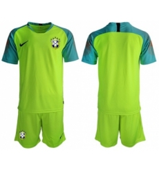 Brazil Blank Shiny Green Goalkeeper Soccer Country Jersey