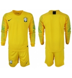 Brazil Blank Yellow Goalkeeper Long Sleeves Soccer Country Jersey