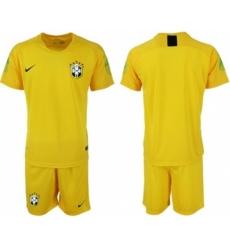 Brazil Blank Yellow Goalkeeper Soccer Country Jersey