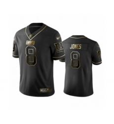 Men's New York Giants #8 Daniel Jones Limited Black Golden Edition Football Jersey