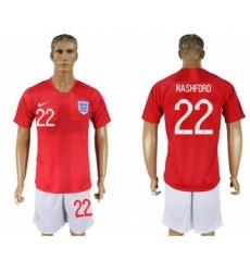 England #22 Rashford Away Soccer Country Jersey