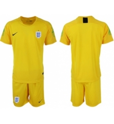 England Blank Yellow Goalkeeper Soccer Country Jersey