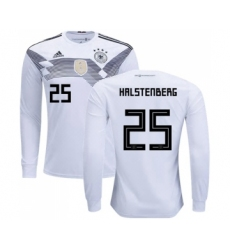 Germany #25 Halstenberg White Home Long Sleeves Soccer Country Jersey