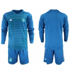 Germany Blank Blue Goalkeeper Long Sleeves Soccer Country Jersey