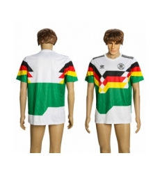 Germany Blank White Green 1990 Throwback Soccer Country Jersey