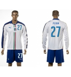 Italy #27 Perin White Away Long Sleeves Soccer Country Jersey